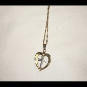 Gold and silver heart and cross necklace